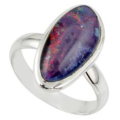 6.12cts natural australian opal triplet 925 silver ring size 7.5 r42515