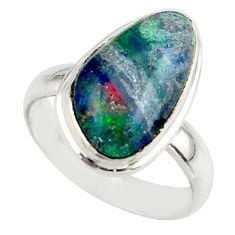 5.58cts natural australian opal triplet 925 silver ring size 5.5 r42516