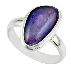 5.73cts natural australian opal triplet 925 silver ring size 8.5 r42517