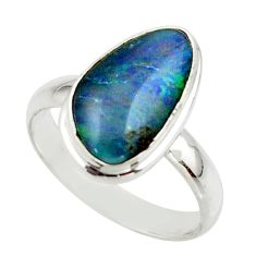 6.03cts natural australian opal triplet 925 silver ring size 8.5 r42519