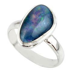 5.70cts natural australian opal triplet 925 silver ring size 8.5 r42525