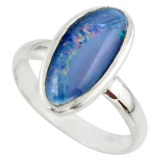 5.82cts natural australian opal triplet 925 silver ring size 9.5 r42526