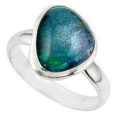 6.05cts natural australian opal triplet 925 silver ring size 9.5 r42527