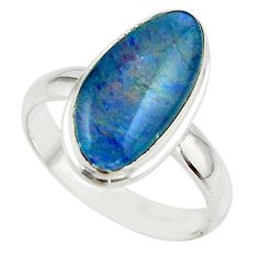 5.58cts natural australian opal triplet 925 silver ring size 7.5 r42530