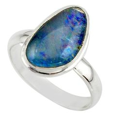 5.84cts natural australian opal triplet 925 silver ring size 8.5 r42537
