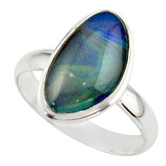 6.39cts natural australian opal triplet 925 silver ring size 10 r42502
