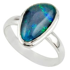 6.11cts natural australian opal triplet 925 silver ring size 10 r42503