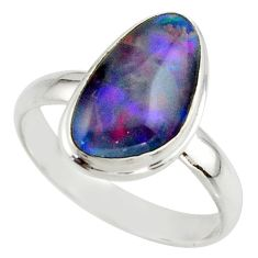 6.20cts natural australian opal triplet 925 silver ring size 10 r42513