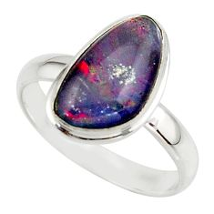 5.82cts natural australian opal triplet 925 silver ring size 10 r42522