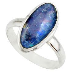 5.91cts natural australian opal triplet 925 silver ring size 10 r42529