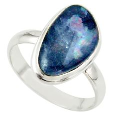 6.72cts natural australian opal triplet 925 silver ring size 10 r42531
