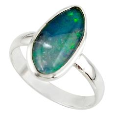 5.73cts natural australian opal triplet 925 silver ring size 10 r42539
