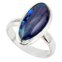 6.07cts natural australian opal triplet 925 silver ring size 7 r42506
