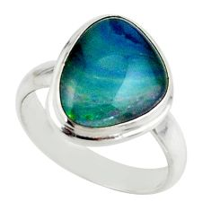 6.01cts natural australian opal triplet 925 silver ring size 7 r42518