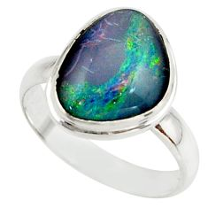 5.61cts natural australian opal triplet 925 silver ring size 8 r42509