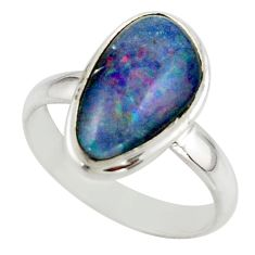 5.56cts natural australian opal triplet 925 silver ring size 8 r42520