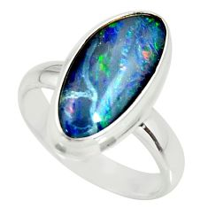 6.10cts natural australian opal triplet 925 silver solitaire ring size 7 r34158