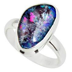 6.28cts natural australian opal triplet 925 silver solitaire ring size 8 r34143