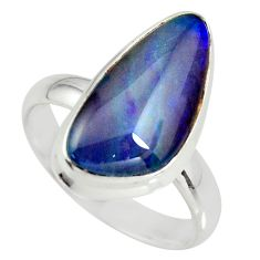 6.54cts natural australian opal triplet 925 silver solitaire ring size 8 r34146