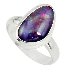 5.82cts natural australian opal triplet 925 silver solitaire ring size 8 r34148