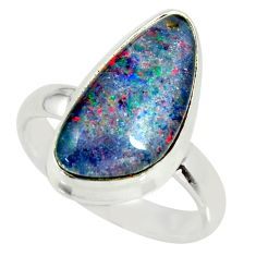 6.60cts natural australian opal triplet 925 silver solitaire ring size 8 r34152