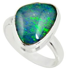 6.10cts natural australian opal triplet 925 silver solitaire ring size 8 r34155