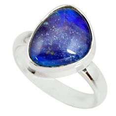 6.01cts natural australian opal triplet 925 silver solitaire ring size 8 r34289