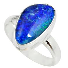 5.81cts natural australian opal triplet 925 silver solitaire ring size 8 r34293