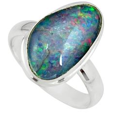 5.11cts natural australian opal triplet 925 silver solitaire ring size 8 r39286