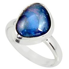 6.04cts natural australian opal triplet 925 silver solitaire ring size 9 r34141
