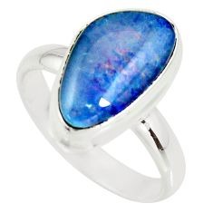 6.54cts natural australian opal triplet 925 silver solitaire ring size 9 r34145