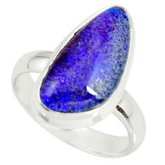 6.54cts natural australian opal triplet silver solitaire ring size 7.5 r34122