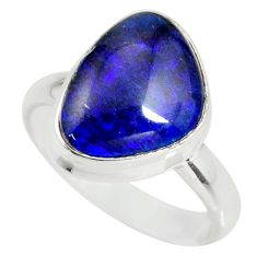 6.02cts natural australian opal triplet silver solitaire ring size 8.5 r34125