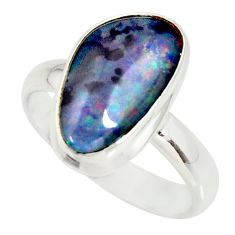 6.36cts natural australian opal triplet silver solitaire ring size 8.5 r34127