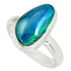 5.84cts natural australian opal triplet silver solitaire ring size 8.5 r34142