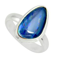 6.28cts natural australian opal triplet silver solitaire ring size 7.5 r34147