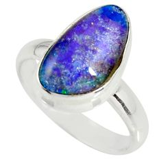 6.05cts natural australian opal triplet silver solitaire ring size 8.5 r34149