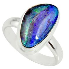 6.54cts natural australian opal triplet silver solitaire ring size 8.5 r34151