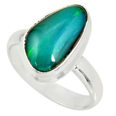 6.54cts natural australian opal triplet silver solitaire ring size 8.5 r34154