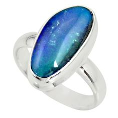 6.32cts natural australian opal triplet silver solitaire ring size 7.5 r34157