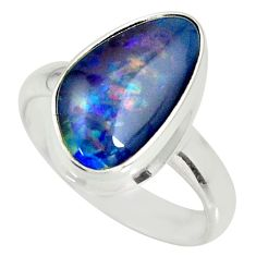 6.02cts natural australian opal triplet silver solitaire ring size 7.5 r34159