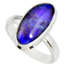 6.31cts natural australian opal triplet silver solitaire ring size 8.5 r34261