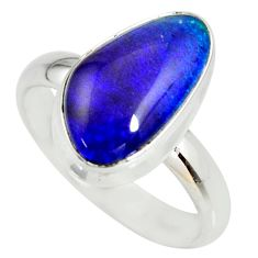 5.83cts natural australian opal triplet silver solitaire ring size 8.5 r34265