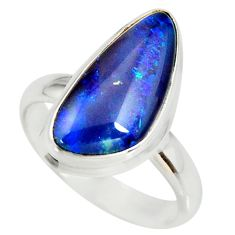 6.58cts natural australian opal triplet silver solitaire ring size 8.5 r34266
