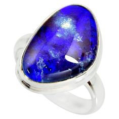 11.13cts natural australian opal triplet silver solitaire ring size 7.5 r34268