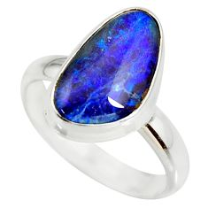 5.63cts natural australian opal triplet silver solitaire ring size 8.5 r34271