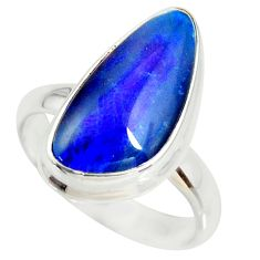 6.53cts natural australian opal triplet silver solitaire ring size 7.5 r34273