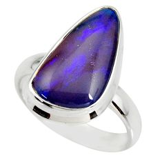 6.04cts natural australian opal triplet silver solitaire ring size 7.5 r34276