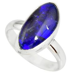 6.04cts natural australian opal triplet silver solitaire ring size 8.5 r34279