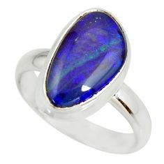 5.84cts natural australian opal triplet silver solitaire ring size 8.5 r34280